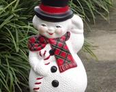 Ceramic Snowman, Big Glass Snowman, Vintage Large Christmas Holiday Decoration
