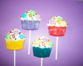 Cupcake lollipop with confetti and M&Ms