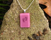 Baby's First Steps Pink Fused Glass Pendant