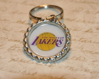 Los Angeles Lakers Basketball Bottle Cap Keychain, Zipper or Backpack Pull - Proceeds Benefit Cancer Research