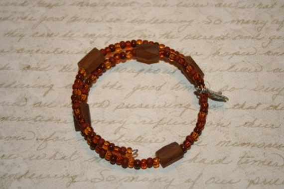 Brown Beaded Double Loop Bracelet - Proceeds Benefit Cancer Research