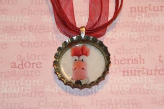 Beaker Muppet Show Bottle Cap Necklace