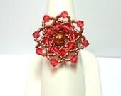 Beaded Ring Tutorial, Flower Flare Statement Ring