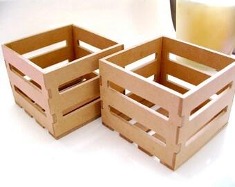 6 Mini Wooden Crates