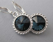 Montana Blue Earrings -- Silver Earrings, Swarovski Crystal Rivoli and Sterling Silver Deep Blue with a hint of Green, Round, Rope Setting