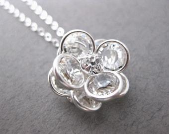 Silver Rose Necklace, Sterling Silver, Swarovski Crystal Necklace, Swarovski Crystals Rhinestone Rose Necklace
