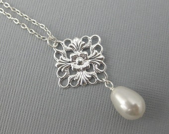 Silver Filigree and Pearl Necklace -- Filigree Necklace with Swarovski Crystal Pearl and Silver, Bridal Necklace