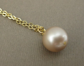 Gold Champagne Pearl Necklace Bridesmaid Jewelry Pearl Pendant Necklace Swarovski Powder Almond Beige