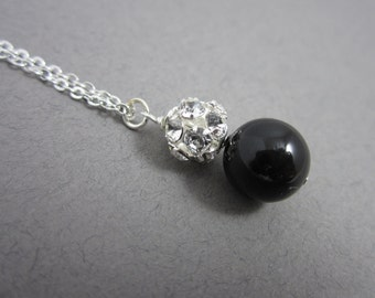 Rhinestone and Black Necklace -- Rhinestone and Pearl Necklace, Swarovski Crystal Rhinestones and Pearl Pendant