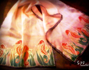 Handpainted  Silk Scarf with little red seahorses - MADE TO ORDER