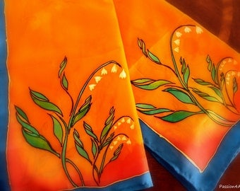 Lily of the Valley - Handpainted Silk Scarf