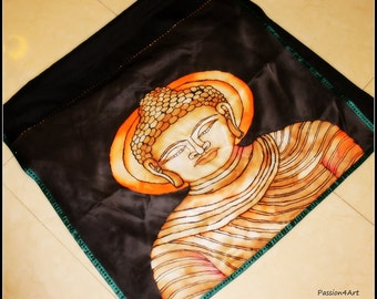 Hand Painted Long Silk Scarf ( Indian Dupatta ) with The Buddha