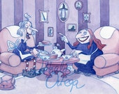 Tea for two, print from an original watercolor.