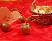 Silver Apple Place Card Holders - 6 and basket