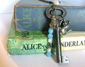 "Antique Key Necklace ""Alice's Tea Party"" Alice in Wonderland Theme With White Pearl, Rabbit Charm, and Light Blue Beads Vintage Key Necklace"