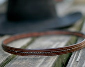 "Horse Hair and 1/2"" Leather Hatband - Braided Horsehair"