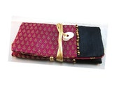 Jewelry pouch Indian purple flowers