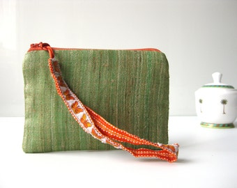 "Small zipper silk pouch lunch money ""grass"""