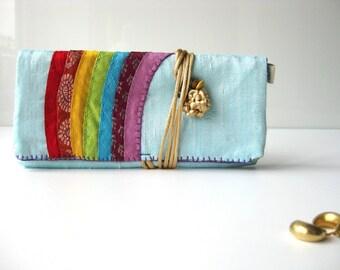 jewelry pouch Indian rainbow, blue inside silk