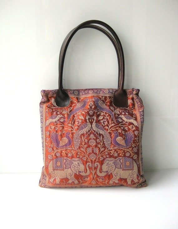 Purse Varanasi India tree of life elephant panel silk