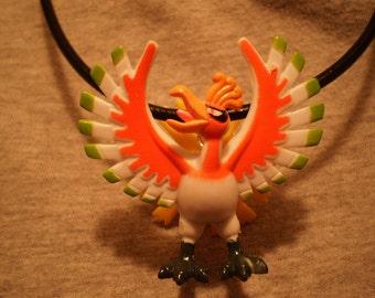 Pokemon Ho-Oh Bird Charm Leather Necklace