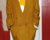80's Yellow Wool Double Breasted Boyfriend Blazer