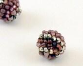 Beaded Beads - 8mm round Purple Wisteria Swirl earring pair for jewelry making