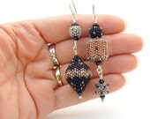 Asymmetrical Beaded Bead Earrings - handmade - black silver and copper