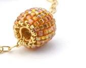 Tangerine Tango Beaded Bead Gem on gold filled chain