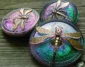 Modern Czech Glass Buttons - set of 3 - dragonfly - teal green blue purple gold - BK326 BK321