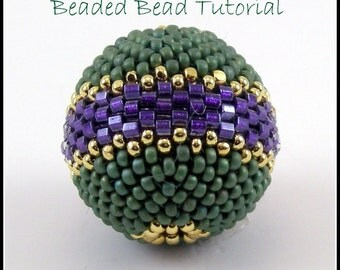Tutorial  Round Beaded Bead Peyote Stitch  - instant download pdf beading pattern with photos and instructions