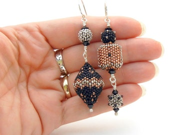 Asymmetrical Beaded Bead Earrings - handmade - black silver and copper