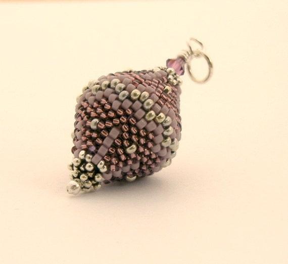 Sale - Beaded Pendant - Spinning Top beaded bead - purple lavender lilac silver - by Sharri Moroshok on etsy