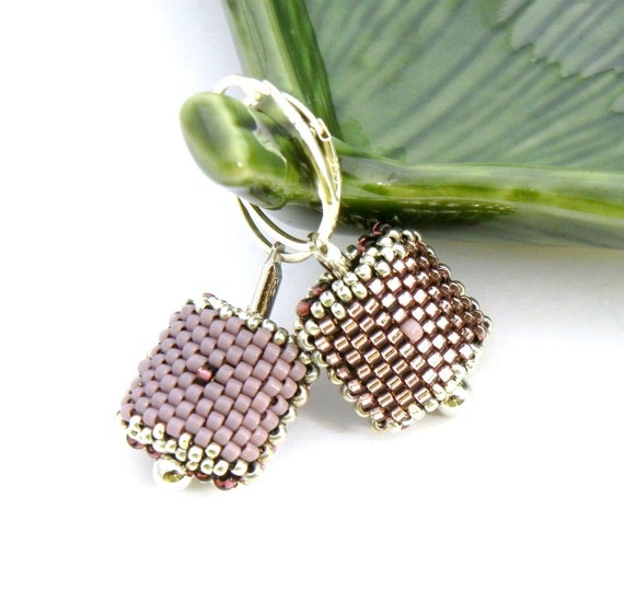 Changeable Leverback Beaded Bead Earrings - lavender purple lilac beaded beads