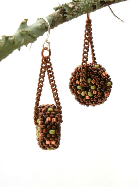 Beaded Bead Earrings - Summer Sale - copper and olive green beaded bead discs