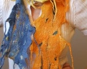 S A L E Wet  Felted Wool Scarf  OOAK Natural merino wool and silk Wearable Art, Go Green 2011 Collection