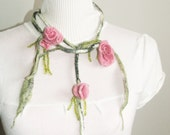 Pink roses necklace, Felted Merino felted necklace