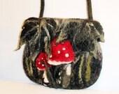 Wool felted purse, OOAK handmade, Mushrooms shoulder bag,