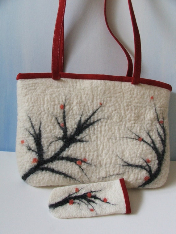 Hand Felted Wool OOAK  Bag and FREE Eyeglasses Case wool felted purse