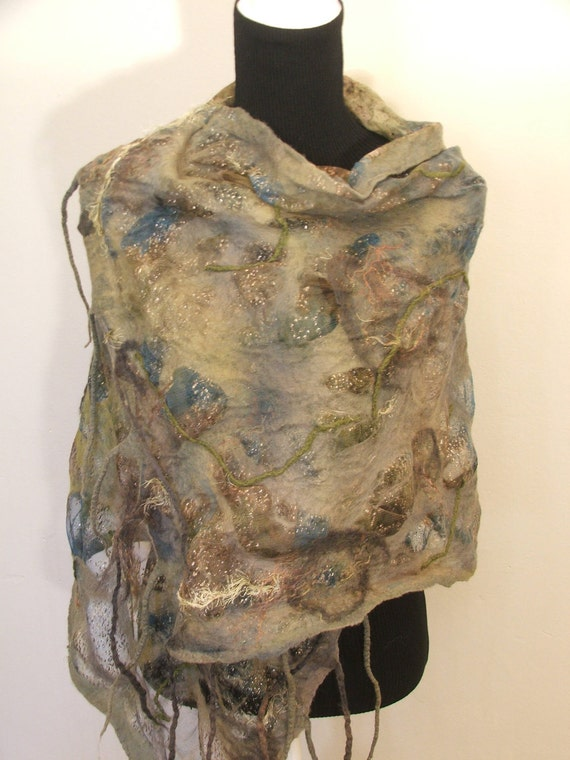 Reserved for M. Green Lizard Nuno Felted Scarf, wrap OOAK  Wearable Art  Hand Painted