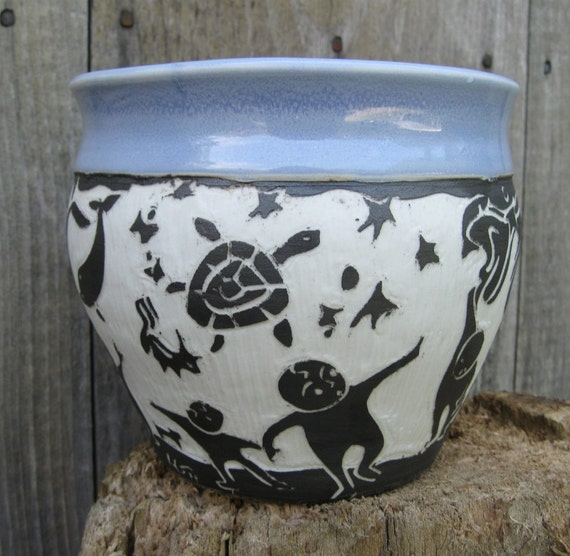 Blue Dream Bowl with Mermaid, Turtle, Dog and Dolphin in the Sky