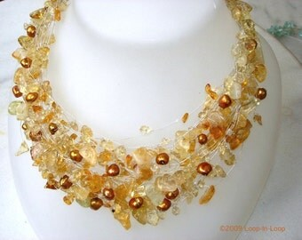 Yellow Citrine Christmas gift Necklace New Year Eve Holiday Gorgeous layered Bridal Natural Gemstone Wedding Jewelry Silver Rustic Colors