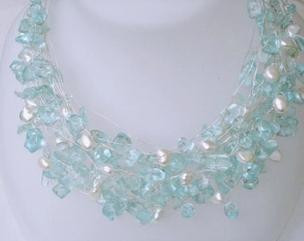 Raw Aquamarine Necklace, Raw Gemstone Wedding blue birthstone handmade jewelry Gift OOAK Pearls Tiered Wire Wrapped Beaded Silver raw gems