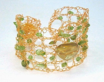 18k Gold filled Bracelet, Hand Crochet Lace Wire Cuff, Green Peridot, Lemon Yellow Citrine, Greenery Color Trends, Wedding Gift for her
