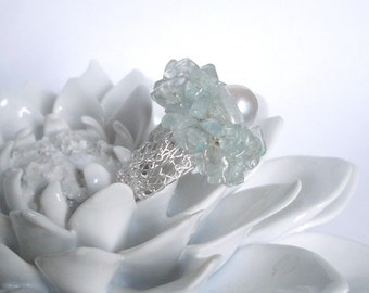 Aquamarine Pearl Cluster Nest Ring Crochet Knitted Lace Sterling Silver Wire Blue topaz nautical wedding jewelry flower fruit fall august
