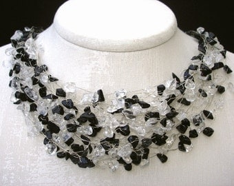 Black white Necklace, Silver Wire Wrapped Necklace, Wedding Black Onyx and Clear Quartz crystal chips Summer jewelry