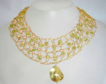 Gold lace necklace pendant 18k Gold filled wire Crochet Necklace Wedding Christmas Holiday Fashion accessories Green Peridot Lemon Citrine