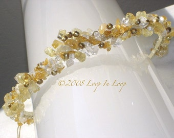 Wedding Head Band, Handmade Tiara Bride Accessories, silver, wire wrapped, freshwater pearls, citrine, amber, clear quartz crystals
