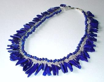 Blue Cobalt Necklace, Sterling Silver Lapis Crochet Lace, beach summer jewelry, nautical dark blue, unique OOAK wedding necklace