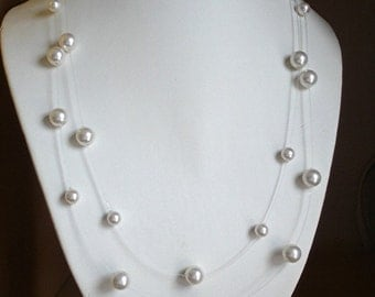 Bridal Necklace Clear iIlusion Floating Pearls Bridesmaids Delicate and Romantic white swarovski pearls